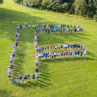 """We made the Fredonia """"F"""", but we could have made an """"R"""" for the Resilience these students and their classmates have shown. Thanks to the Class of '24 for coming out to the class photo, and welcome back to the Big Blue Family!"""